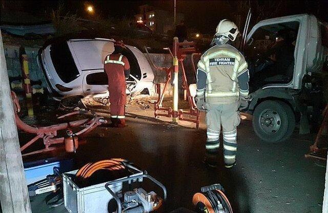 سقوط خودرو 206 داخل یک پارک