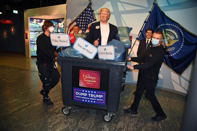 مجسمه ترامپ در سطل زباله!